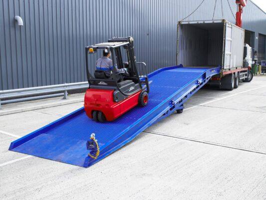 Forklift loading on to yard ramp