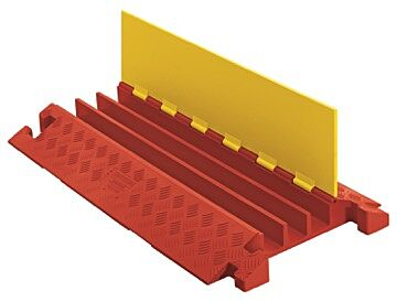 Checkers Line Backer - 3 Channel Cable Protector Orange/Yellow open lid